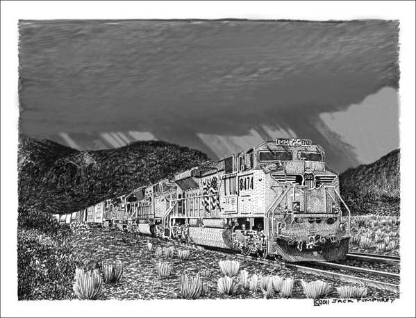 Framed Prints And Note Cards Of Ink Drawings Of Scenic Southern New Mexico. Framed Canvas Prints Of Pen And Ink Images Of Southern New Mexico. Black And White Art Of Southern New Mexico Poster featuring the drawing Union Pacific Diesels And Monsoon by Jack Pumphrey