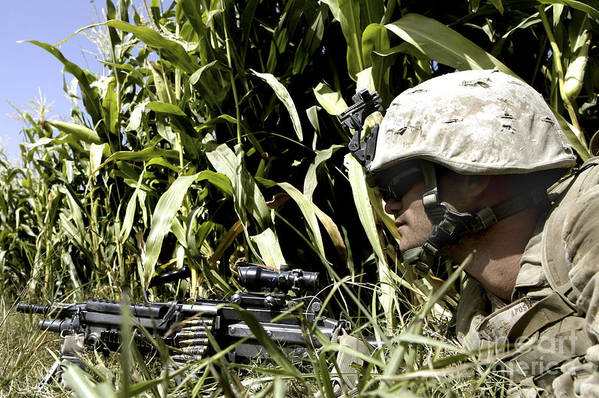 Surveillance Poster featuring the photograph U.s. Marine Maintains Security by Stocktrek Images