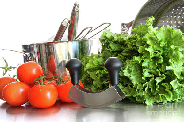 Background Poster featuring the photograph Vegetables With Kitchen Pots And Utensils On White by Sandra Cunningham