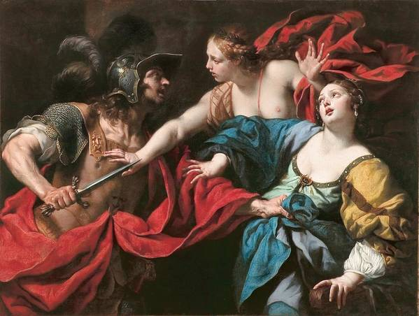 Roman Poster featuring the painting Venus Preventing Her Son Aeneas From Killing Helen Of Troy by Luca Ferrari