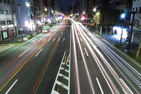 Horizontal Poster featuring the photograph View Of Traffic At Nihonbashi, Tokyo, Japan by Billy Jackson Photography