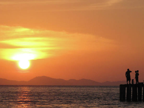 Horizontal Poster featuring the photograph Watching A Sunset From The Jetty by Thepurpledoor