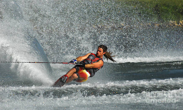 Water Skiing Poster featuring the photograph Water Skiing Magic Of Water 15 by Bob Christopher