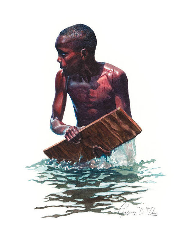 Water Poster featuring the painting Wave Rider by Gregory Jules