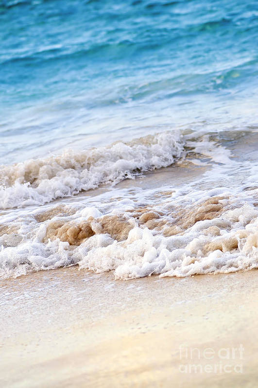 Caribbean Poster featuring the photograph Waves Breaking On Tropical Shore by Elena Elisseeva