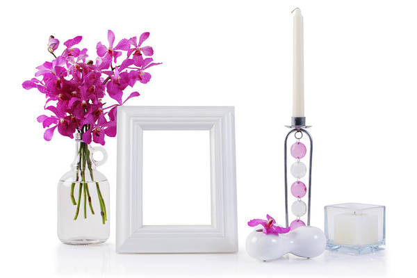 Frame Poster featuring the photograph White Picture Frame In Decoration by Atiketta Sangasaeng