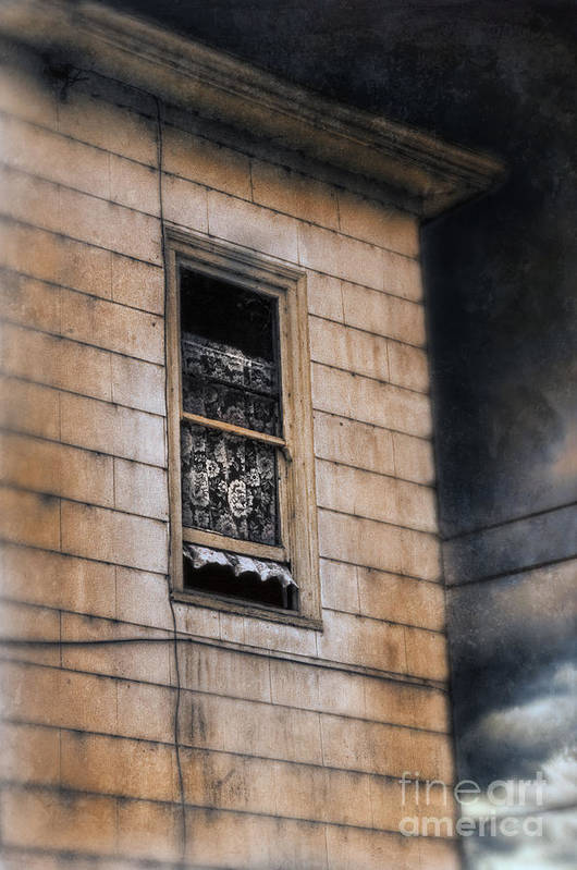 House Poster featuring the photograph Window In Old House Stormy Sky by Jill Battaglia