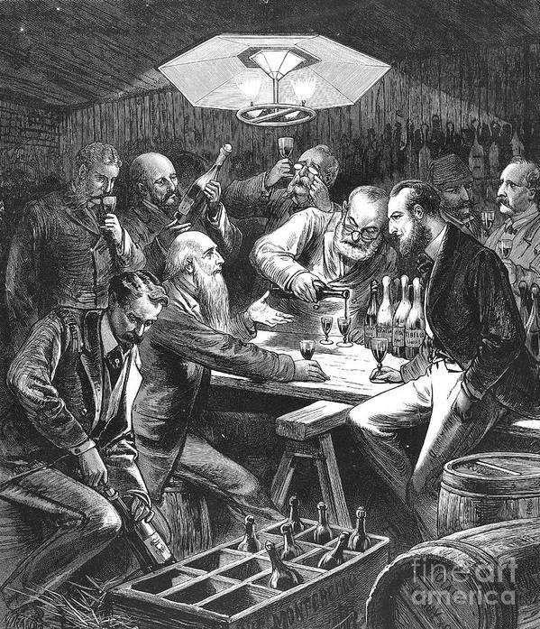 1876 Poster featuring the photograph Wine Tasting, 1876 by Granger