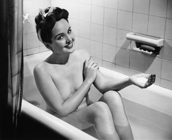 20-24 Years Poster featuring the photograph Woman Bathing, (b&w), Portrait by George Marks