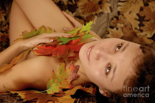 Young Poster featuring the photograph Woman In Fallen Leaves by Oleksiy Maksymenko