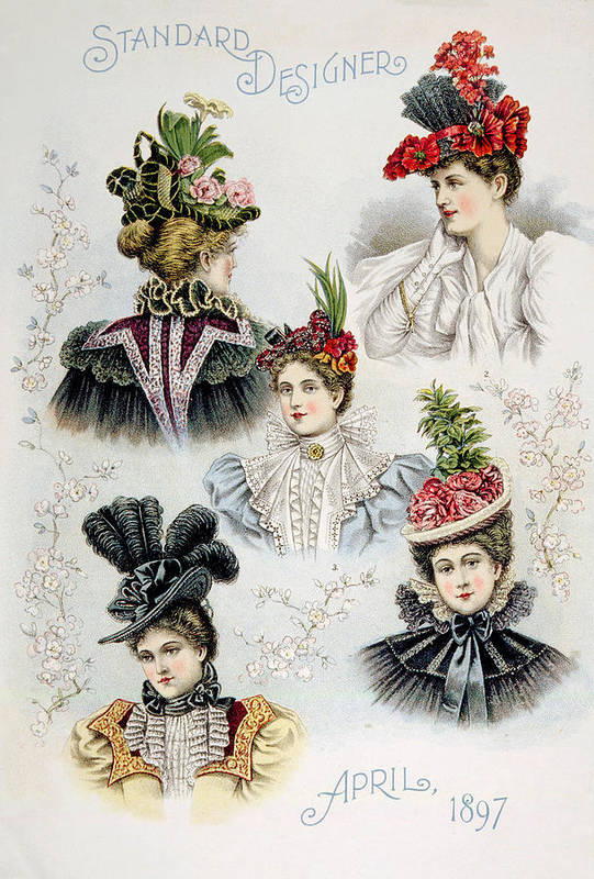 1890s Fashion Poster featuring the photograph Womens Hat Designs For April, 1897 by Everett