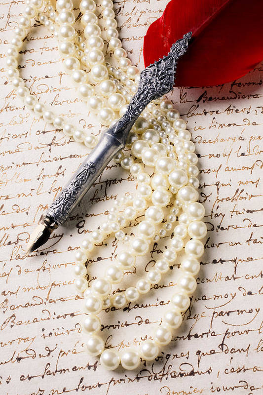 Writing Pen Pearls Old Letter Poster featuring the photograph Writing Pen And Perals by Garry Gay