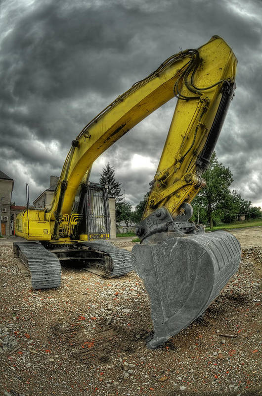 Big Poster featuring the photograph Yellow Excavator by Jaroslaw Grudzinski