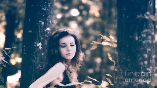 Woman Poster featuring the photograph Young Woman In The Forest by Gabriela Insuratelu