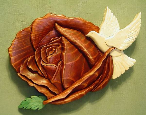 Intarsia Poster featuring the sculpture Dove On A Rose by Russell Ellingsworth