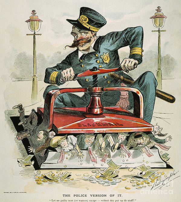 1894 Poster featuring the painting Police Corruption Cartoon by Granger