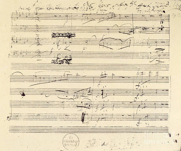 1826 Poster featuring the photograph Beethoven Manuscript, 1826 by Granger