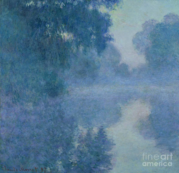 Impressionist; River; Reflection; Fog; Foggy; Misty; Mist; Branch; Seine; Giverny; Claude Monet; Monet; Tree; Trees Poster featuring the painting Branch Of The Seine Near Giverny by Claude Monet