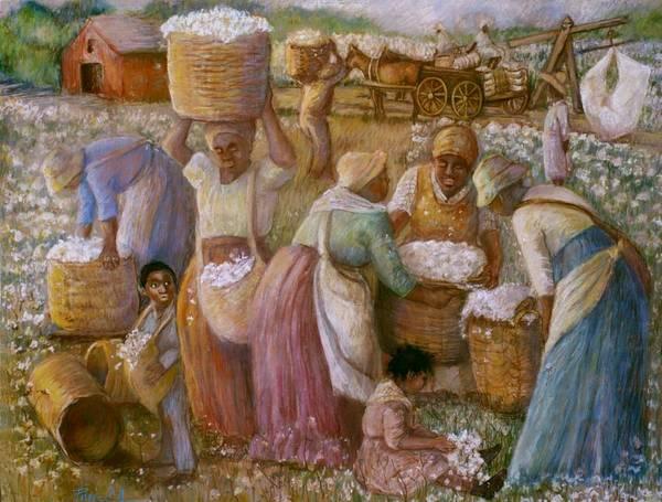Landscape Slaves Cotton Fields Picking Cotton Women Picking Cotton Pastel Painting Poster featuring the painting Cotton Fields by Pamela Mccabe