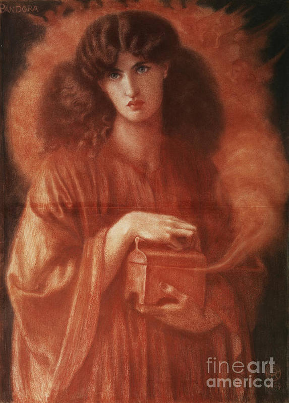 Pandora Poster featuring the painting Pandora by Dante Charles Gabriel Rossetti