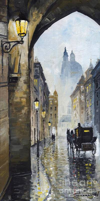 Prague Poster featuring the painting Prague Old Street 01 by Yuriy Shevchuk
