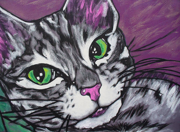 Cat Poster featuring the painting Purple Tabby by Sarah Crumpler