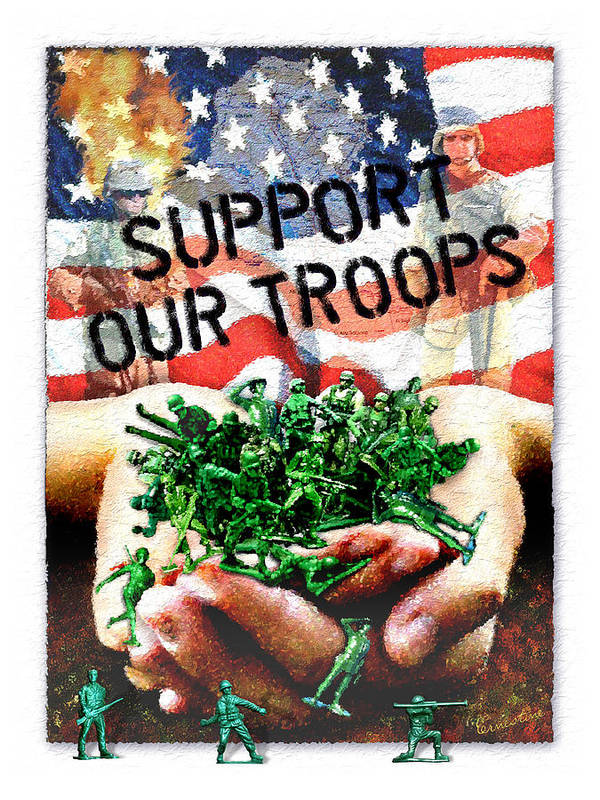 Troops Poster featuring the mixed media Support Our Troops by Ernestine Grindal