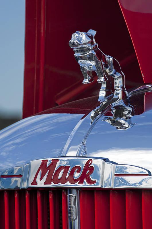 1952 L Model Mack Pumper Fire Truck Poster featuring the photograph 1952 L Model Mack Pumper Fire Truck Hood Ornament by Jill Reger