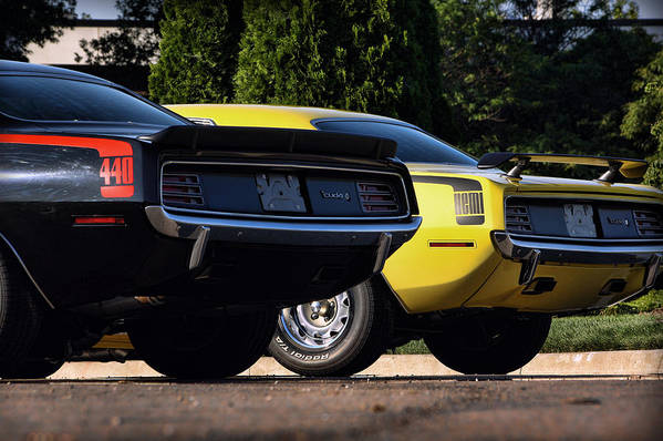 Dynamic Poster featuring the photograph 1970 Plymouth 'cuda 440 And Hemi by Gordon Dean II