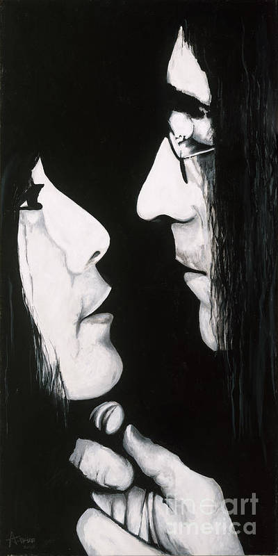 Lennon And Yoko Ono Poster featuring the painting Lennon And Yoko by Ashley Price