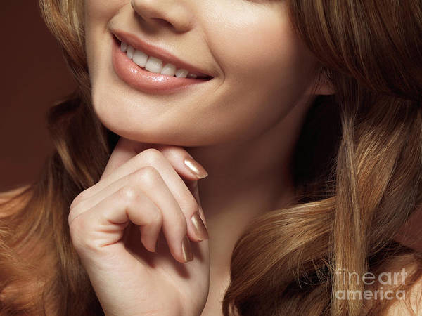 Beauty Poster featuring the photograph Beautiful Young Smiling Woman by Oleksiy Maksymenko
