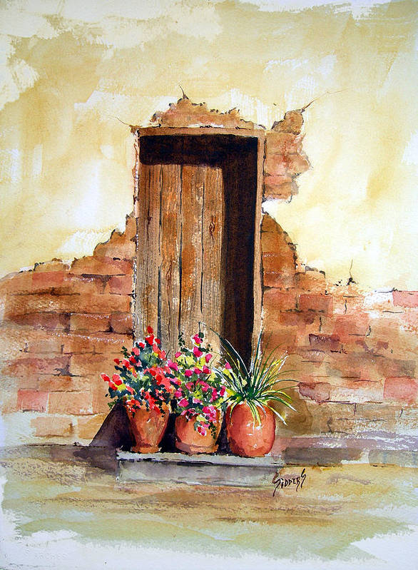 Door Poster featuring the painting Door With Pots by Sam Sidders