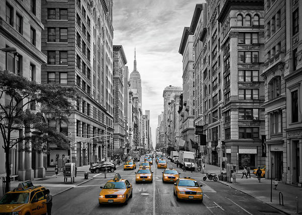 America Poster featuring the photograph 5th Avenue Yellow Cabs - Nyc by Melanie Viola