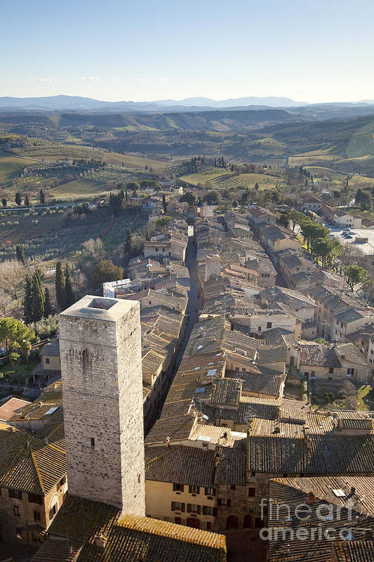 Ancient Poster featuring the photograph San Gimignano by Andre Goncalves