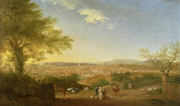 Panoramic Poster featuring the painting A Panoramic View Of Florence From Bellosguardo by Thomas Patch
