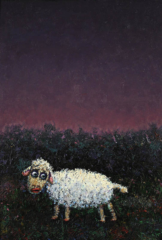 Sheep Poster featuring the painting A Sheep In The Dark by James W Johnson
