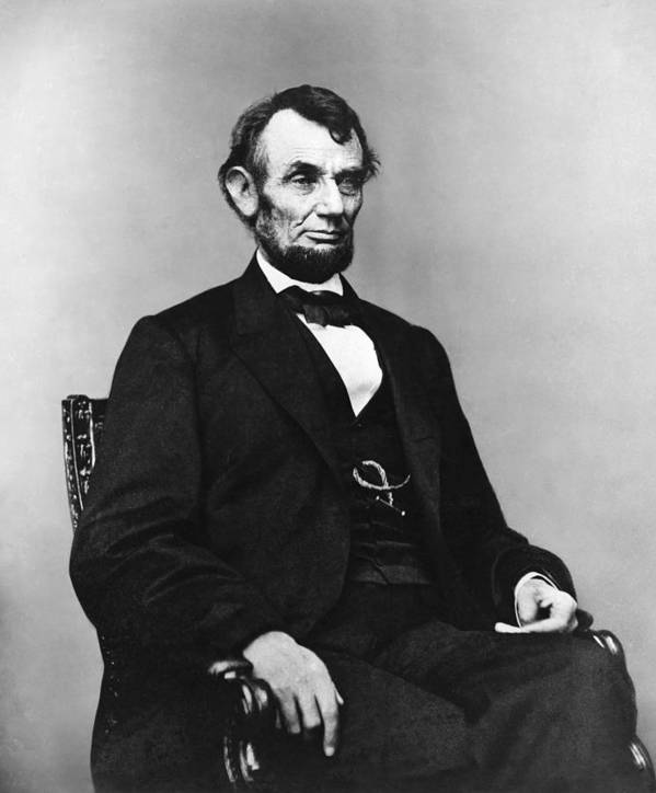 abraham Lincoln Poster featuring the photograph Abraham Lincoln Portrait - Used For The Five Dollar Bill - C 1864 by International Images