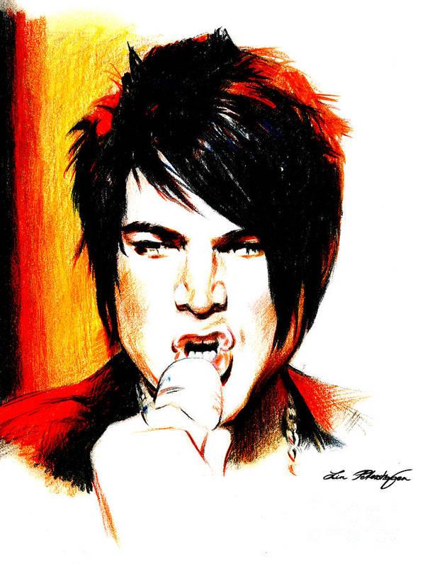 Adam Lambert Poster featuring the drawing Adam Lambert by Lin Petershagen