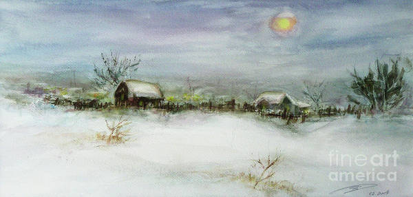Landscape Poster featuring the painting After A Heavy Fall Of Snow by Xueling Zou