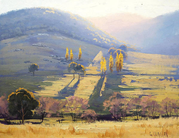 Rural Poster featuring the painting Afternoon Light Tarana by Graham Gercken