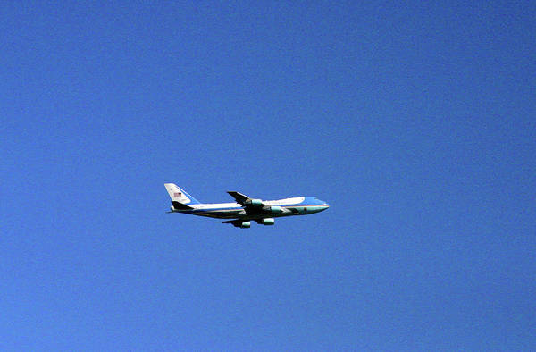 Air Force One Poster featuring the photograph Air Force One In Flight by Duncan Pearson