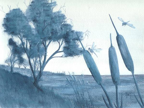 Watercolor Poster featuring the painting Among The Cattails... No. Four by Robert Meszaros