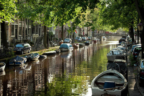 Age Poster featuring the photograph Amsterdam Canal by Joan Carroll