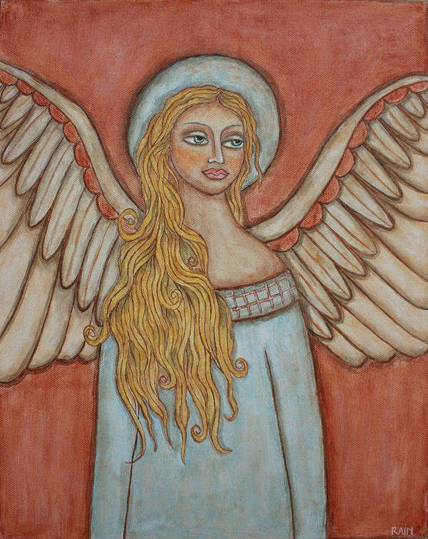 Folk Art Paintings Poster featuring the painting Angel Of Liberation by Rain Ririn