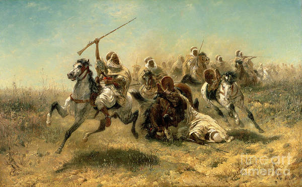 Arab Poster featuring the painting Arab Horsemen On The Attack by Adolf Schreyer