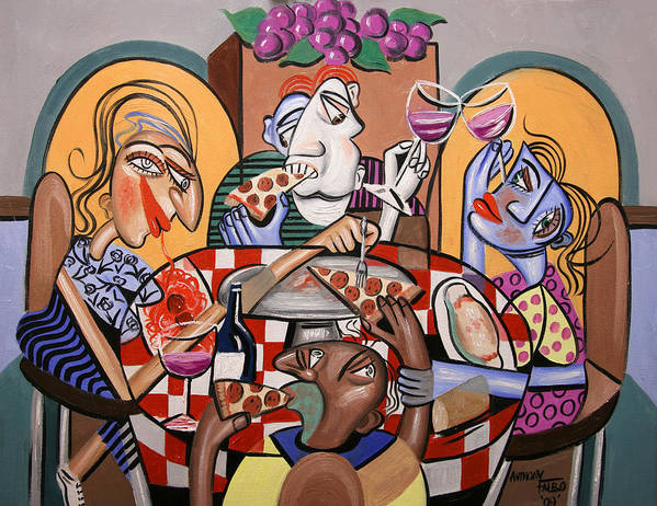 Pizza Poster featuring the painting At The Pizzeria by Anthony Falbo