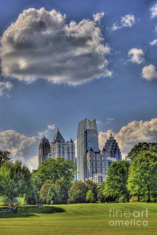 Atlanta Piedmont Park View Poster featuring the photograph Atlanta Piedmont Park View by Corky Willis Atlanta Photography