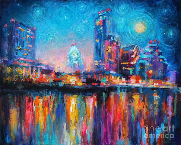 Austin Art Poster featuring the painting Austin Art Impressionistic Skyline Painting #2 by Svetlana Novikova