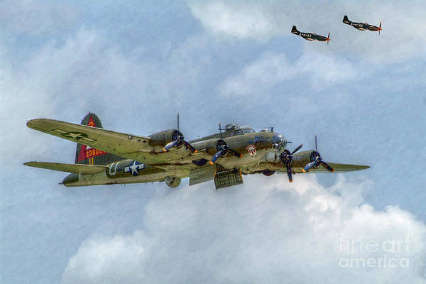 B17 Poster featuring the digital art B-17 Flying Fortress Bomber by Randy Steele