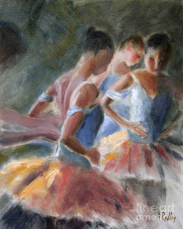 Figurative Poster featuring the painting Backstage Costume Change by Ann Radley